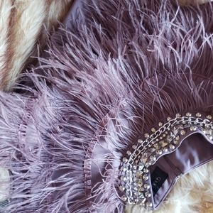 """""""GRACIA """" ALL STUDDED OUT W/FEATHERS BLOUSE"""